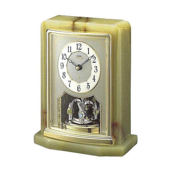 セイコーエムブレム 天然石の風合いが魅力な置き時計[HW465G]  ZOOM