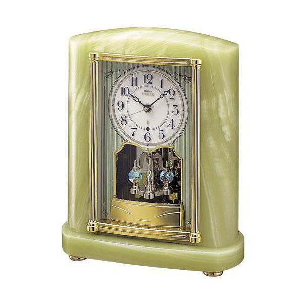 セイコーエムブレム 天然石の風合いが魅力な回転飾り電波置き時計[HW521M]  ZOOM