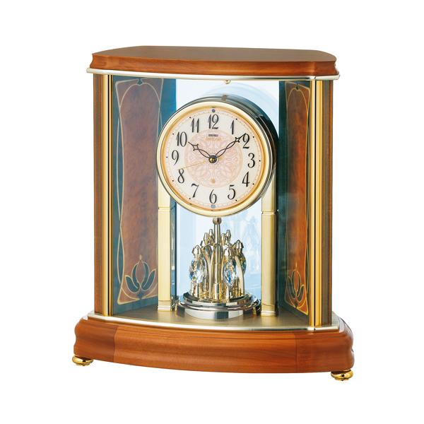 SEIKO EMBLEM セイコーエムブレム 木の風合いが魅力な回転飾り置き時計[HW577B]
