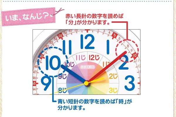 SEIKO/セイコー 知育掛け時計 【KX617W】 商品詳細 文字盤について1