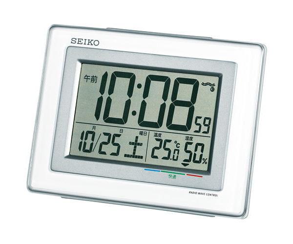 セイコー(SEIKO)温湿度表示デジタル電波クロック目覚まし時計 SQ686W