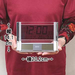 SEIKO セイコー ハイブリッドソーラー デジタル 電波 置き時計 SQ690S サイズ 縦14.1cm×横20.2cm