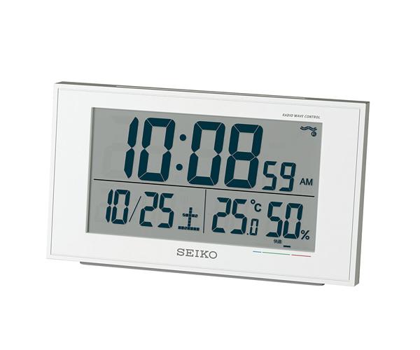セイコー(SEIKO)温湿度表示デジタル電波クロック目覚まし時計 SQ758W