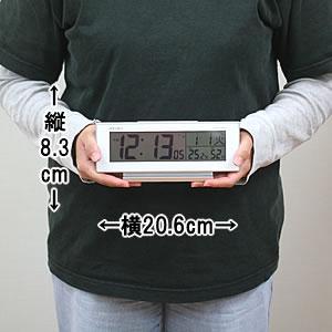 セイコー(SEIKO)温湿度表示付きデジタル電波クロック置き時計 SQ762W サイズ