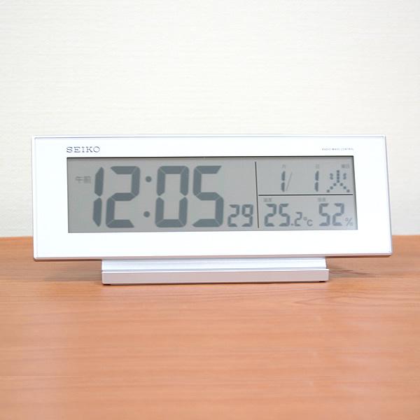 セイコー(SEIKO)温湿度表示付きデジタル電波クロック置き時計 SQ762W