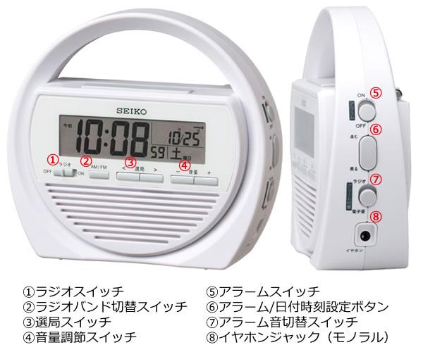 SEIKO セイコー 電波防災クロック目覚まし時計 【SQ764W】 商品詳細