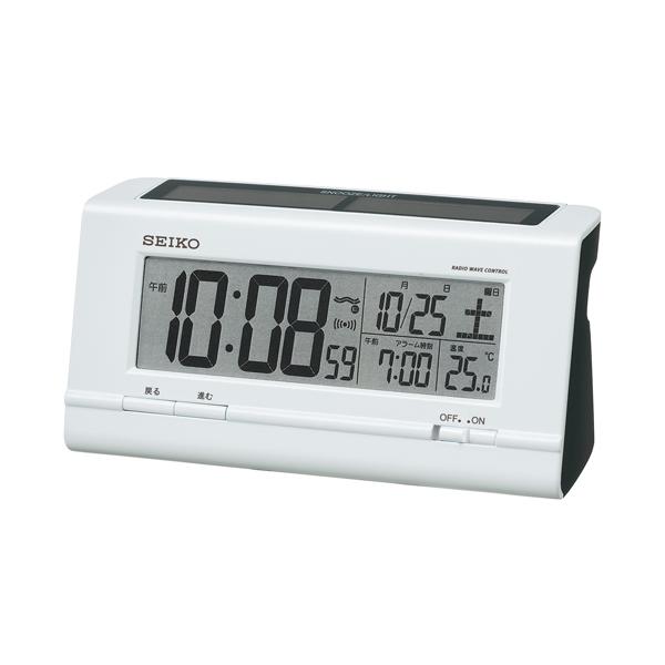 セイコー(SEIKO)ハイブリッドソーラーデジタル電波クロック目覚まし時計 SQ766W