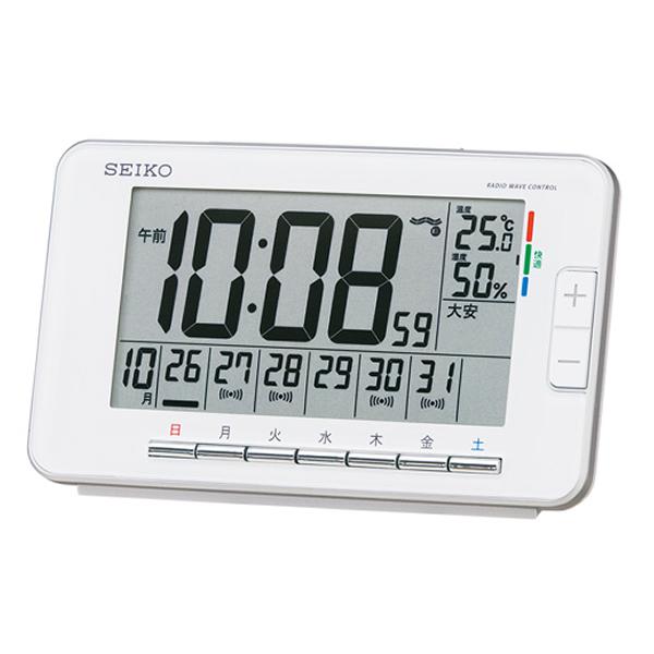 SEIKO セイコー ウィークリーアラーム デジタル 電波 目覚まし時計 SQ774W 白
