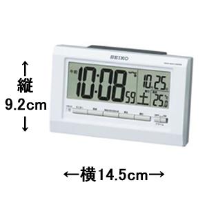 SEIKO セイコー デジタル電波目覚まし時計 【SQ755W】 サイズ