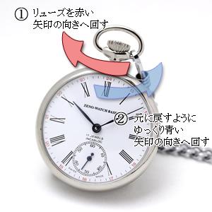 ZENO WATCH ゼノウォッチ 懐中時計 zt100-i2rom 巻き方
